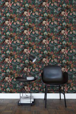 papel pintado salón flores verde esmeralda 139171