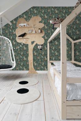 papel pintado habitación de niño monos verde oscuro 139234