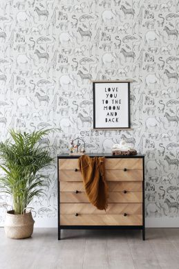 papel pintado animales de la selva beige y gris
