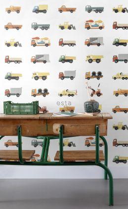 papel pintado XXL camiones y tractores amarillo, naranja y azul