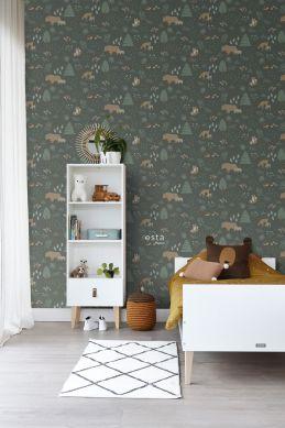papel pintado bosque con animales del bosque verde oscuro y beige