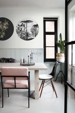 mural redondo autoadhesivo comedor paisaje con palmeras blanco y negro 158982