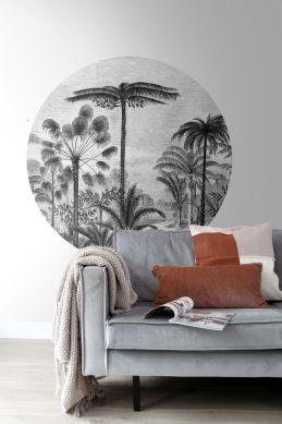 mural redondo autoadhesivo salón paisaje con palmeras blanco y negro 159006