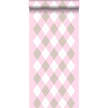 papel pintado rombo rosa claro bebé