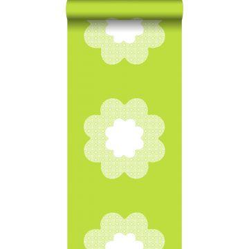 papel pintado flores en encaje verde limón