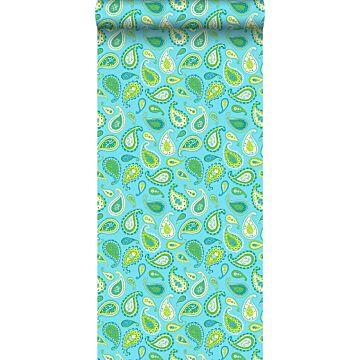 papel pintado paisley cachemir turquesa y verde limón