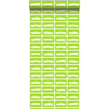papel pintado coches verde limón