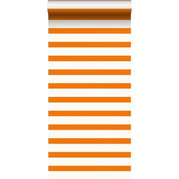 papel pintado rayas naranja y blanco