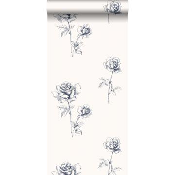 papel pintado rosas azul