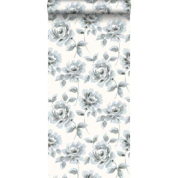 papel pintado rosas pintadas a la acuarela azul claro y gris