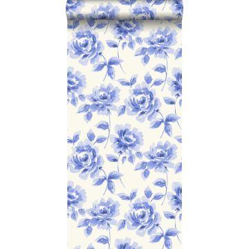 papel pintado rosas pintadas a la acuarela azul brillante
