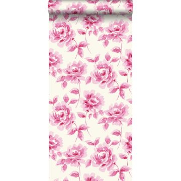 papel pintado rosas pintadas a la acuarela rosa