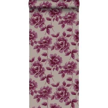papel pintado rosas pintadas a la acuarela morado berenjena y gris pardo