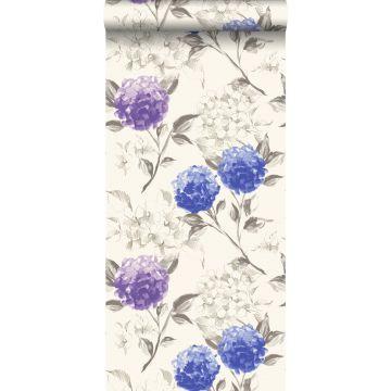 papel pintado hortensias azul oscuro y morado