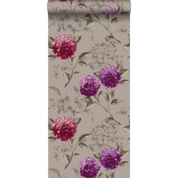 papel pintado hortensias gris pardo y morado berenjena