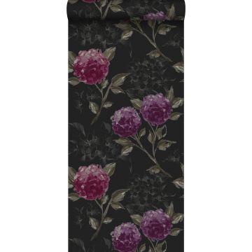 papel pintado hortensias negro y morado berenjena