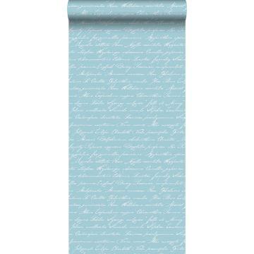 papel pintado nombres de flores manuscritos en latin azul claro