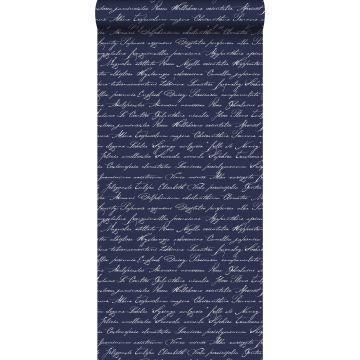 papel pintado nombres de flores manuscritos en latin azul oscuro