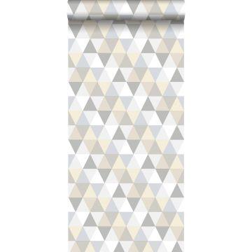 papel pintado triángulos gris claro, beige y blanco
