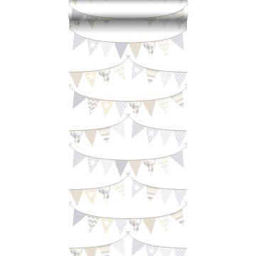 papel pintado guirnalda gris claro, beige y blanco brillante