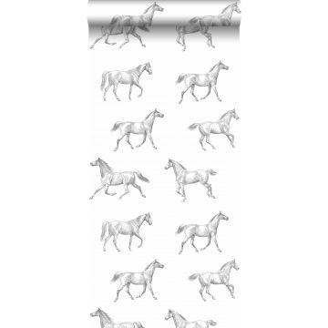 papel pintado dibujo a pluma de caballos negro sobre blanco