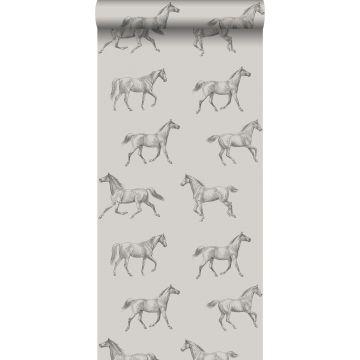 papel pintado dibujo a pluma de caballos cerval