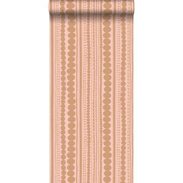 papel pintado cuentas rosa melocotón y marrón cobre brillante