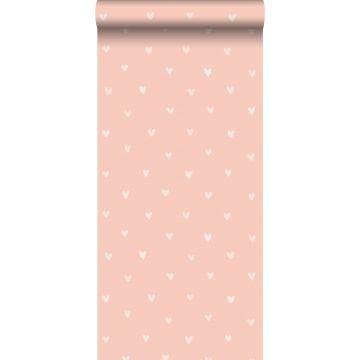 papel pintado corazones rosa melocotón