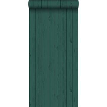 papel pintado tablas de madera estrechos vintage de madera recuperada verde esmeralda intenso