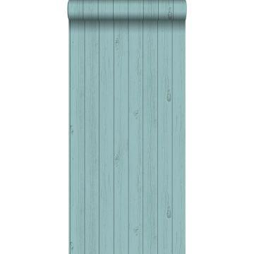 papel pintado tablas de madera estrechos vintage de madera recuperada verde mar turquesa grisáceo