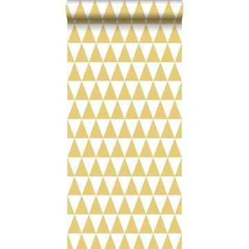 papel pintado triángulos gráficos amarillo ocre