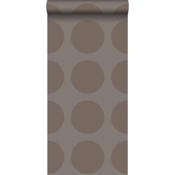 papel pintado esferas sobre tejido de lino gris pardo