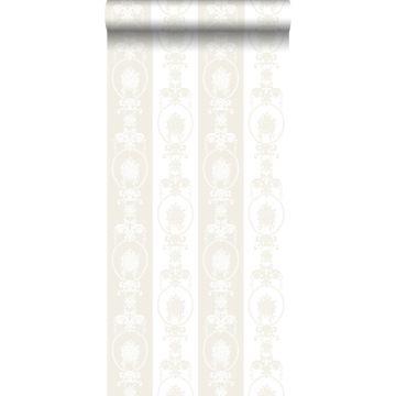 papel pintado barroco blanco y plata