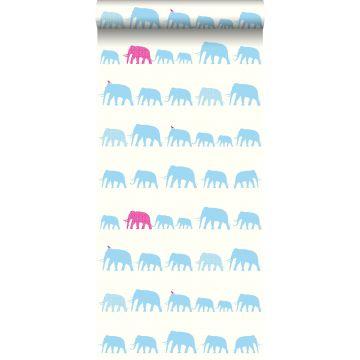 papel pintado elefantes turquesa y rosa