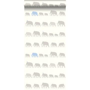 papel pintado elefantes plata y azul claro