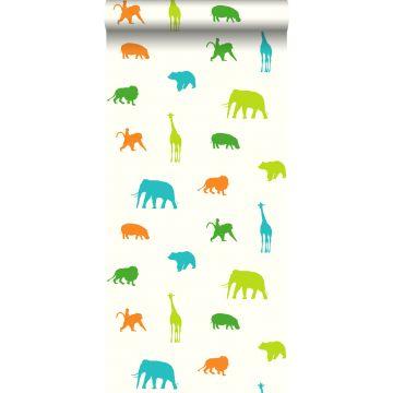 papel pintado animales verde limón y naranja