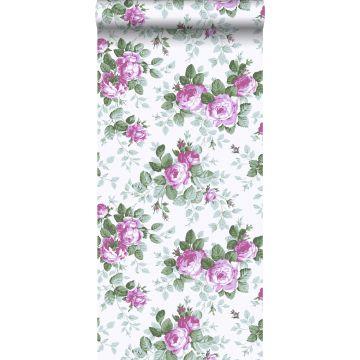 papel pintado rosas morado