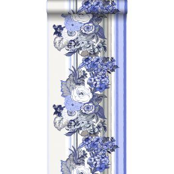 papel pintado flores vintage azul índigo