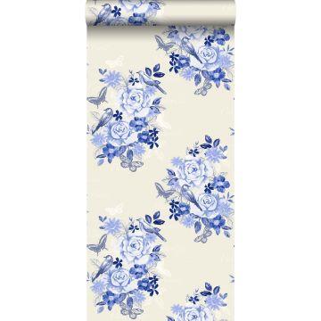 papel pintado flores y pájaros azul índigo