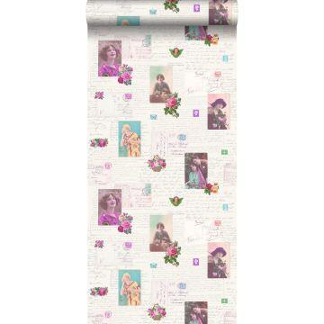 papel pintado tarjetas postales vintage rosa y turquesa