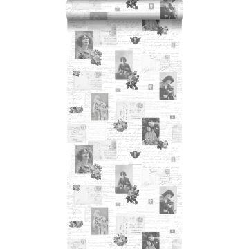 papel pintado tarjetas postales vintage negro y blanco