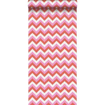 papel pintado zigzag chevrons rojo coral y rosa