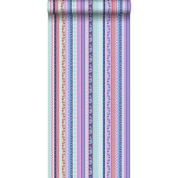 papel pintado cintas azul claro y rosa