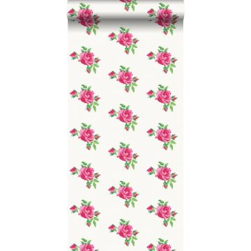papel pintado bordado con pequeñas rosas rosa y verde