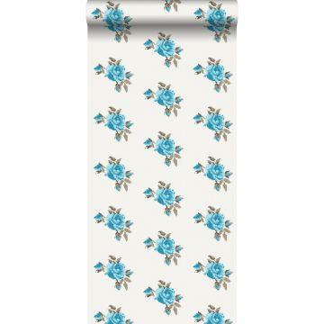papel pintado bordado con pequeñas rosas turquesa
