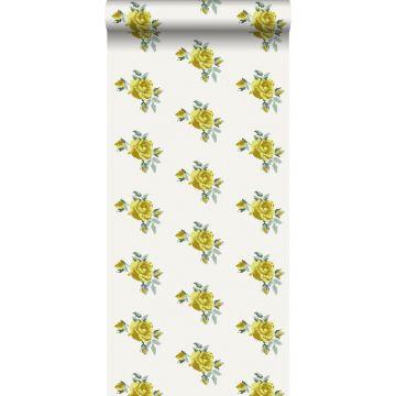 papel pintado bordado con pequeñas rosas amarillo