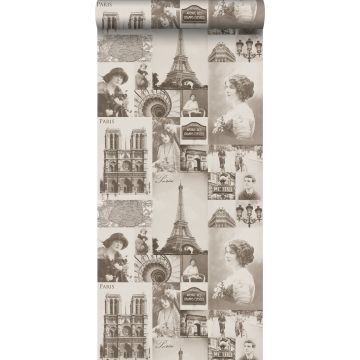 papel pintado Paris marrón sepia