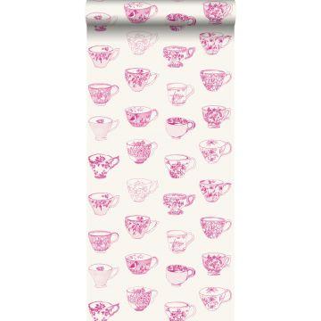 papel pintado tazas y platillos rosa