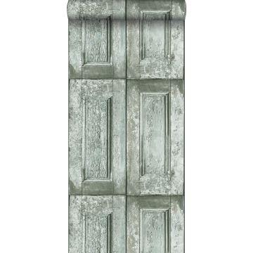 papel pintado puertas de paneles verde mar