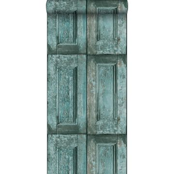 papel pintado puertas de paneles turquesa